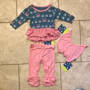 KicKee Pants Long Sleeve Double Ruffle Outfit Set